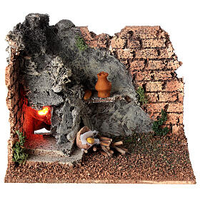 Corner masonry oven with flame effect for Nativity Scene with 8-10 cm figurines s1