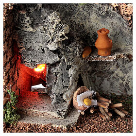 Corner masonry oven with flame effect for Nativity Scene with 8-10 cm figurines s2