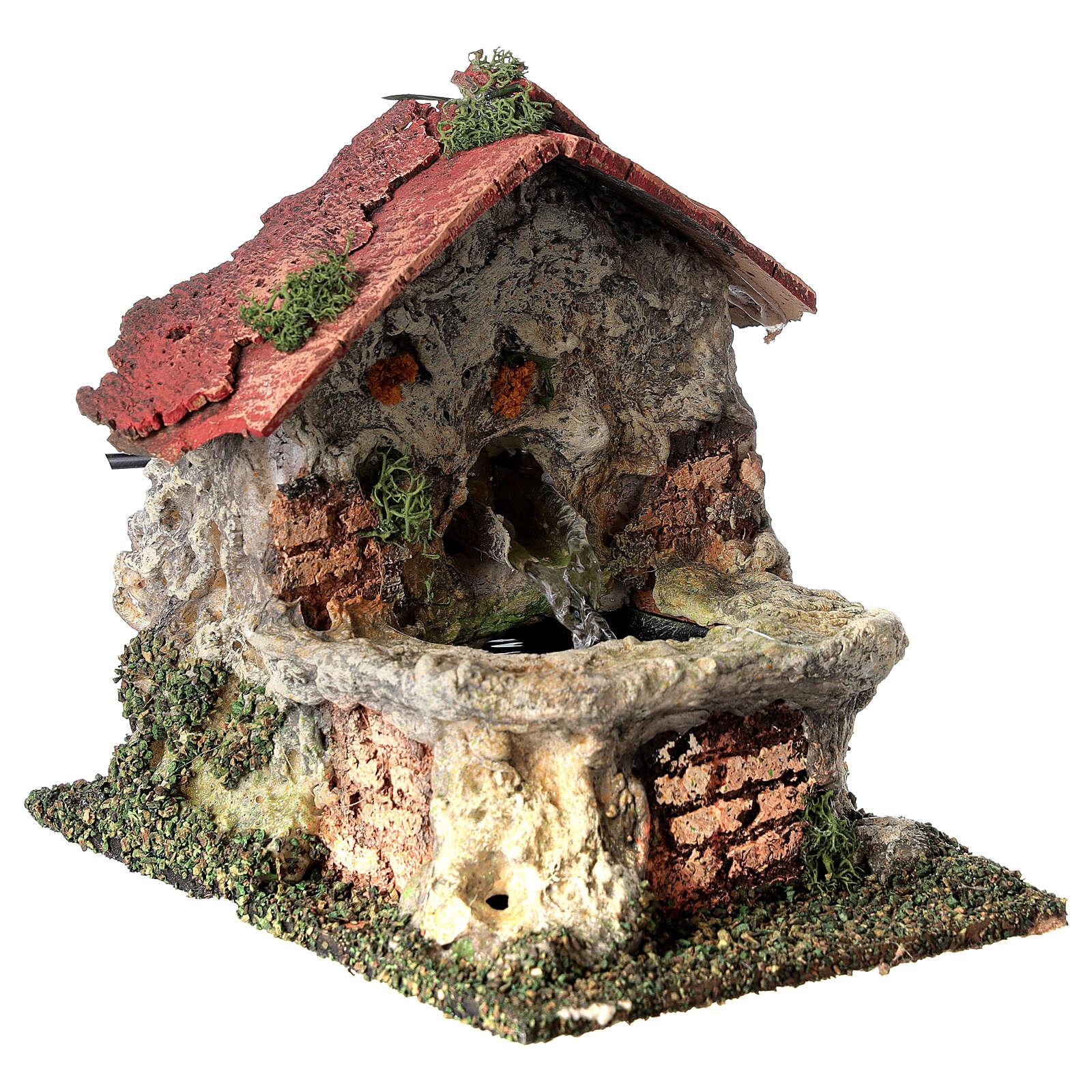 Working masonry fountain Nativity scene 8-10 cm 15x10x15 cm 4