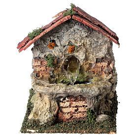Working masonry fountain Nativity scene 8-10 cm 15x10x15 cm s1