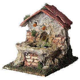 Working masonry fountain Nativity scene 8-10 cm 15x10x15 cm s2