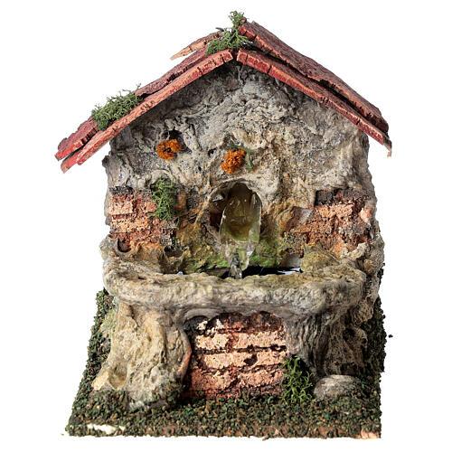 Working masonry fountain Nativity scene 8-10 cm 15x10x15 cm 1