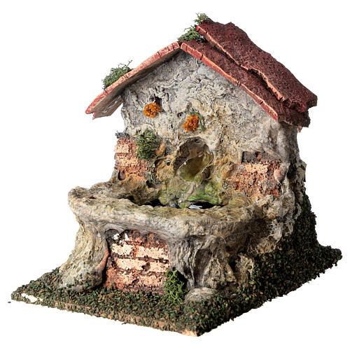 Working masonry fountain Nativity scene 8-10 cm 15x10x15 cm 2