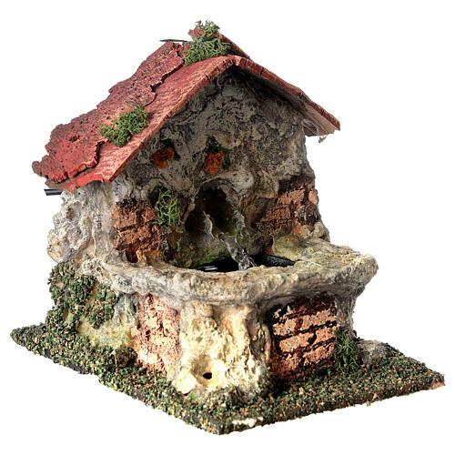 Working masonry fountain Nativity scene 8-10 cm 15x10x15 cm 3