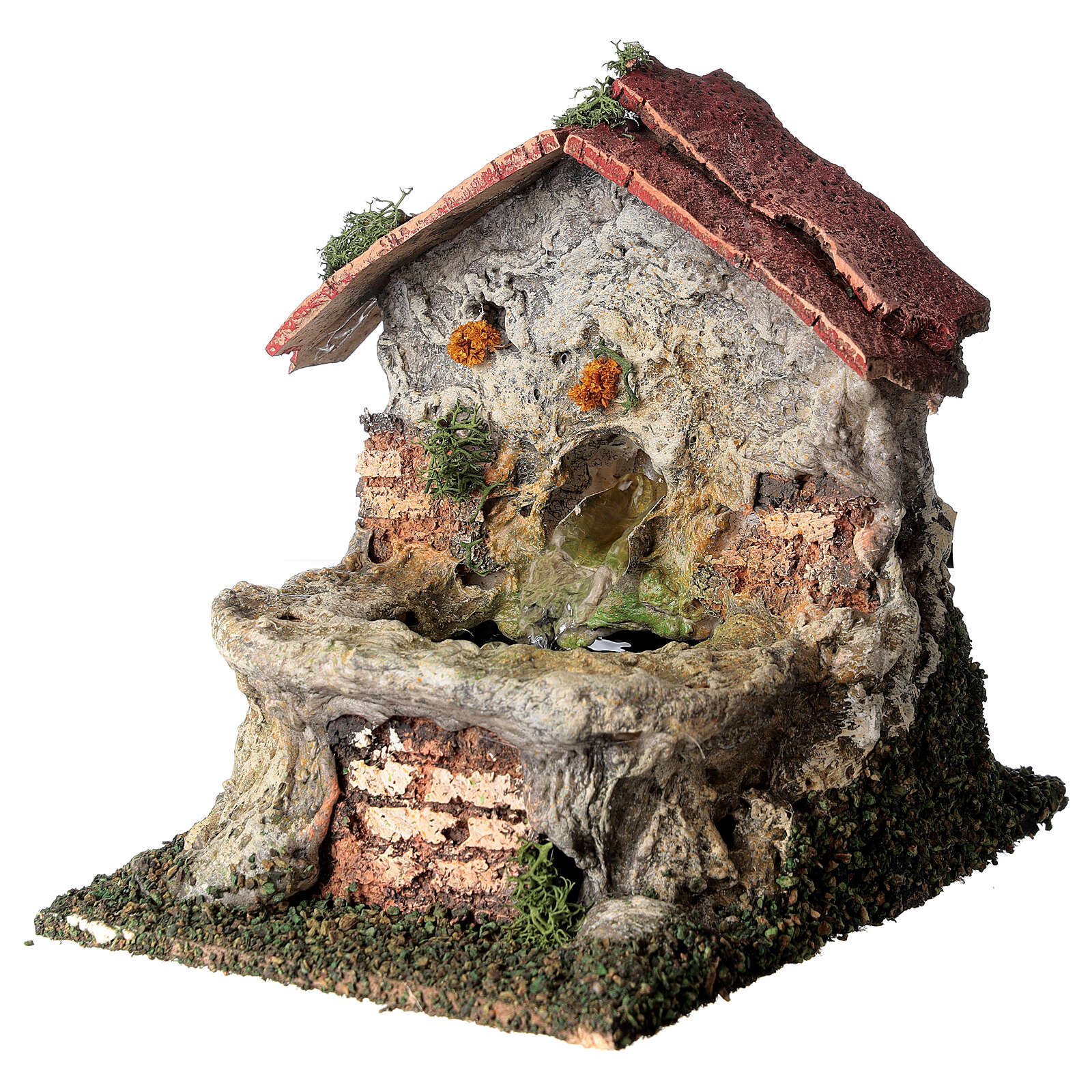 Masonry electric fountain 15x10x15 cm for Nativity Scene with 8-10 cm figurines 4