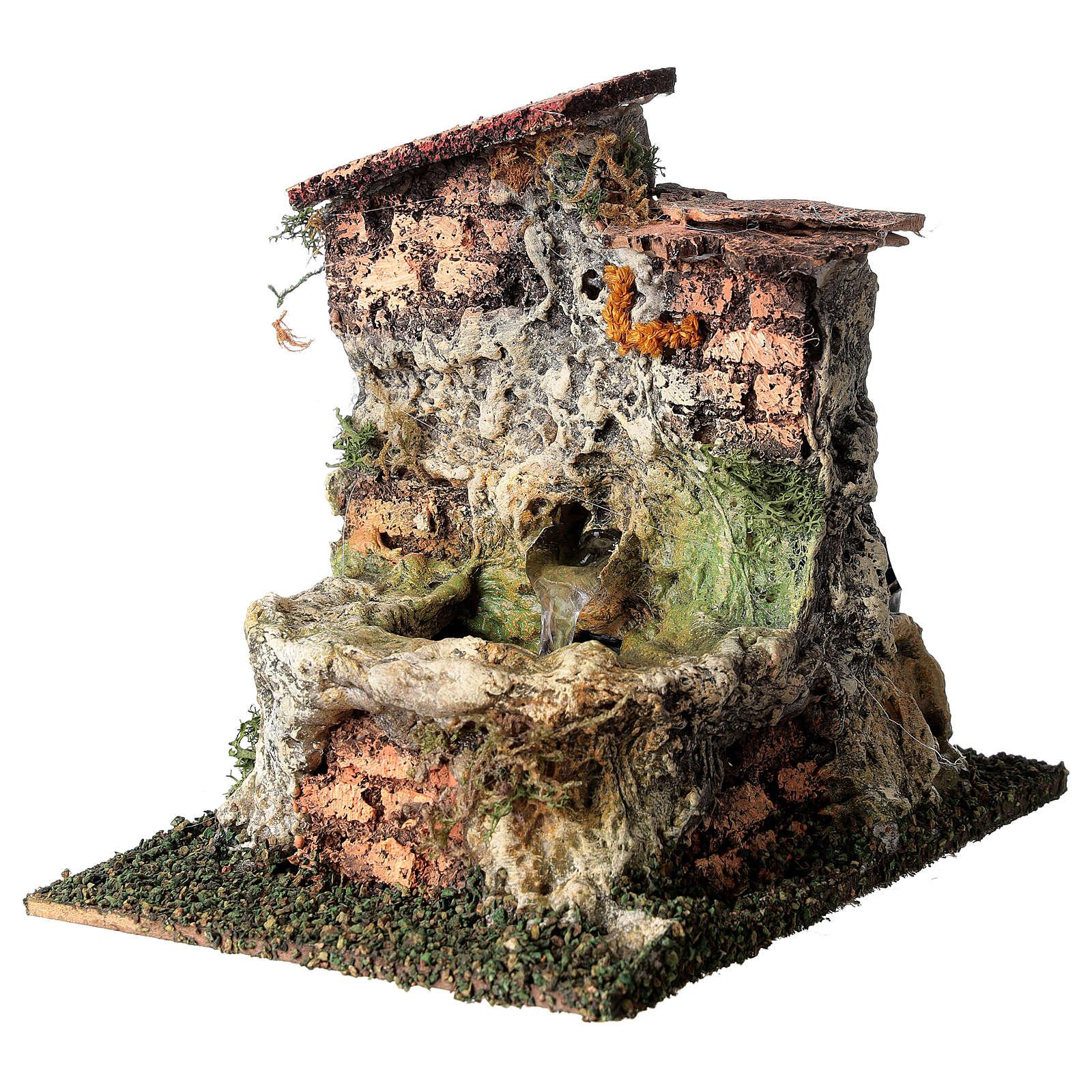 Fontanário funcionante em miniatura com telhado para presépio com figuras altura média 10-12 cm, medidas: 13,5x11x15 cm 4