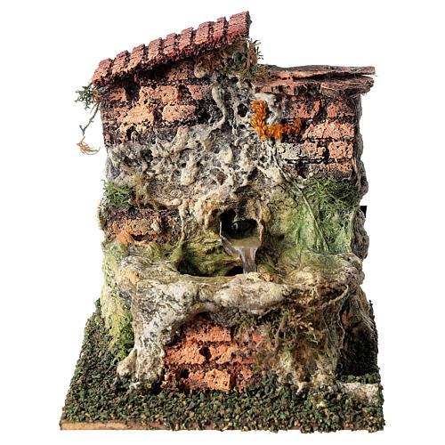 Fontanário funcionante em miniatura com telhado para presépio com figuras altura média 10-12 cm, medidas: 13,5x11x15 cm 1