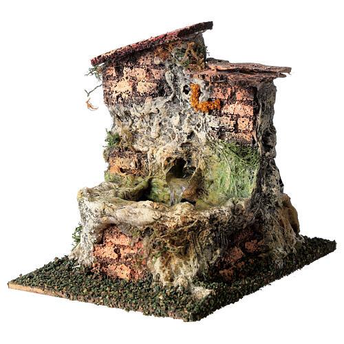 Fontanário funcionante em miniatura com telhado para presépio com figuras altura média 10-12 cm, medidas: 13,5x11x15 cm 2