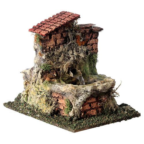 Fontanário funcionante em miniatura com telhado para presépio com figuras altura média 10-12 cm, medidas: 13,5x11x15 cm 3