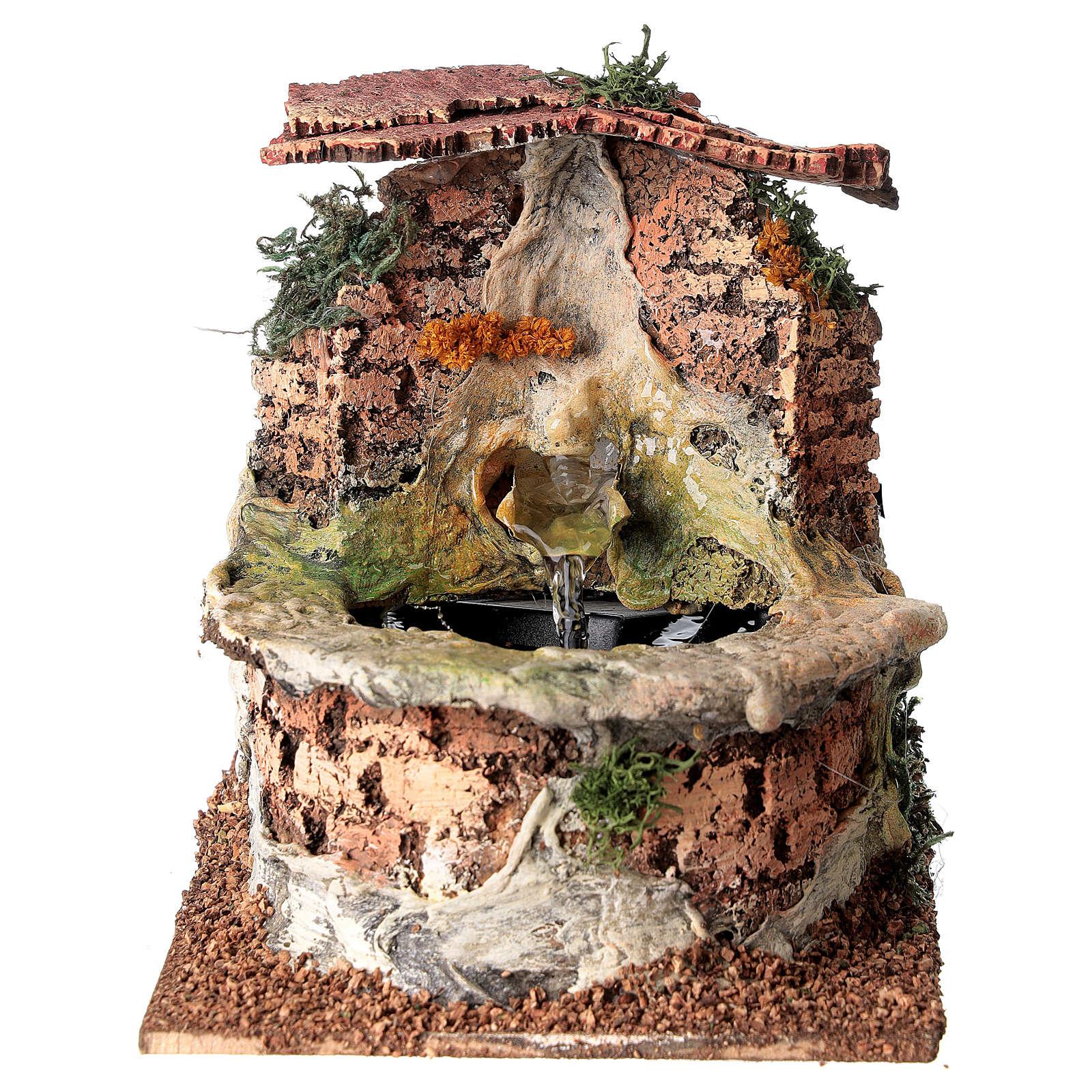 Fontana presepe funzionante sughero presepe 10-12 cm 4