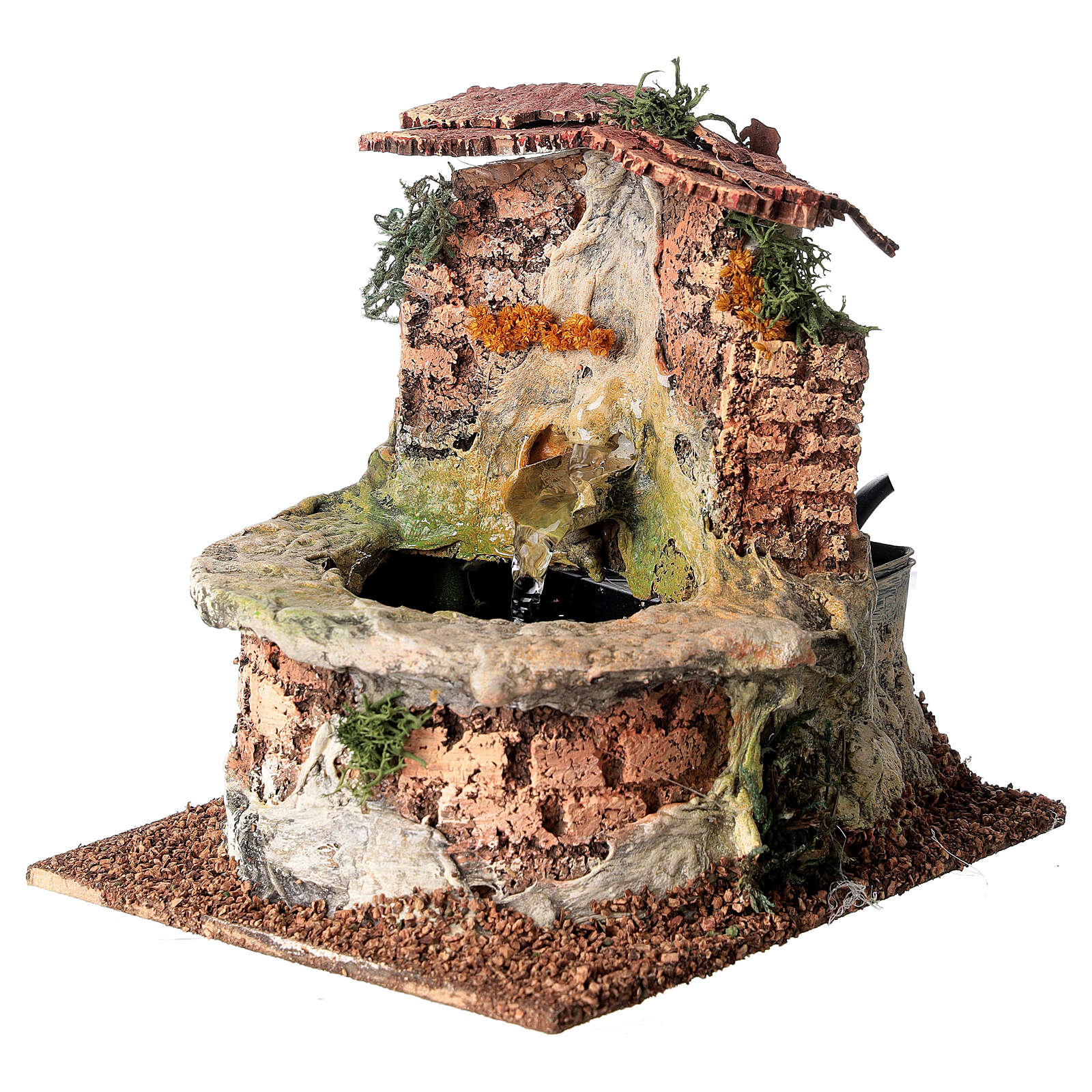 Cork electric fountain for Nativity Scene with 10-12 cm figurines 4
