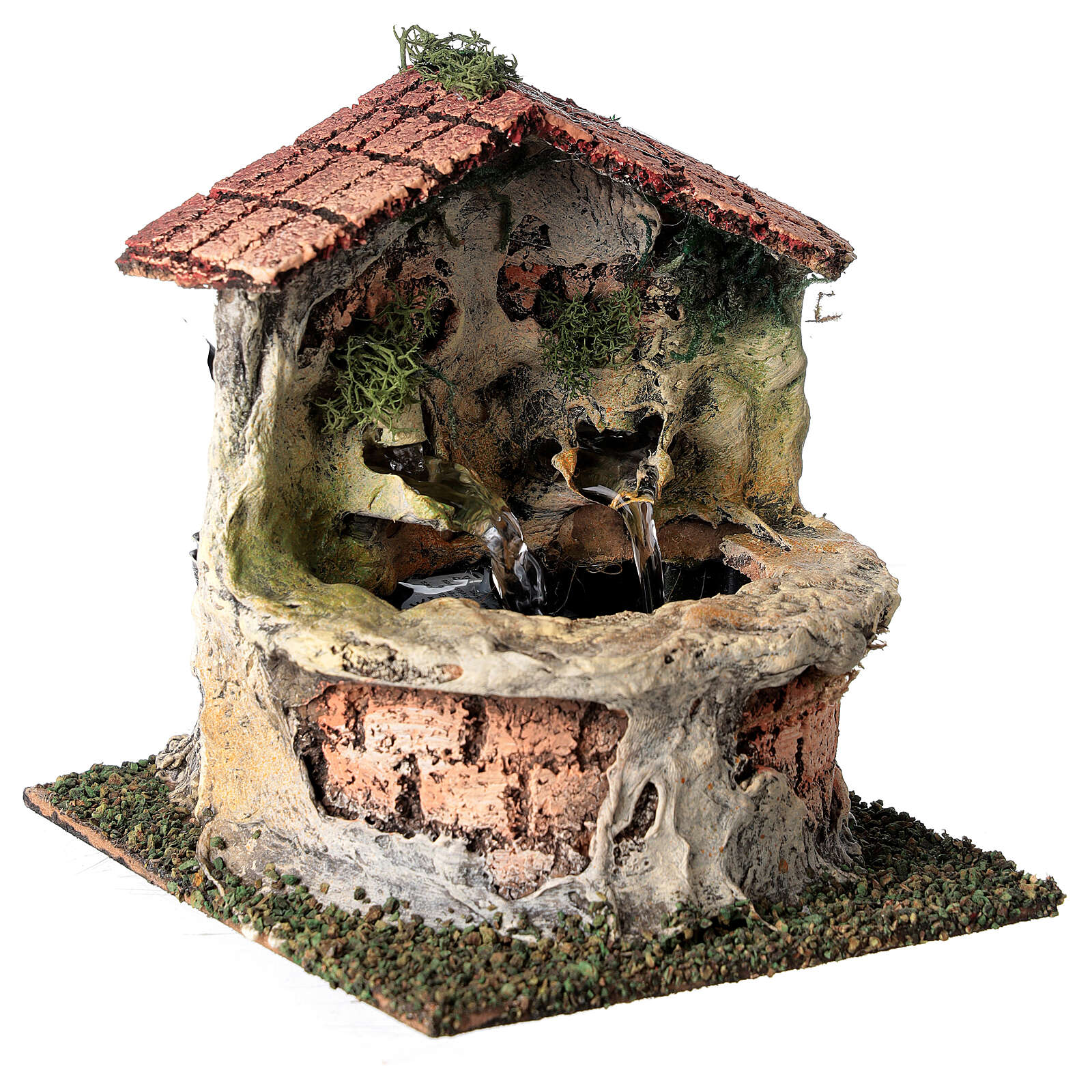 Working fountain with double dispenser for Nativity scene 10-12 cm 15x10x15 cm 4