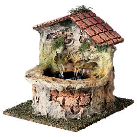 Working fountain with double dispenser for Nativity scene 10-12 cm 15x10x15 cm s2