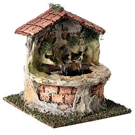 Working fountain with double dispenser for Nativity scene 10-12 cm 15x10x15 cm s3