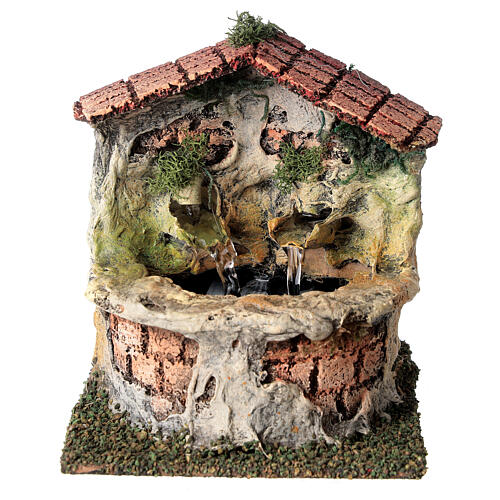 Working fountain with double dispenser for Nativity scene 10-12 cm 15x10x15 cm 1
