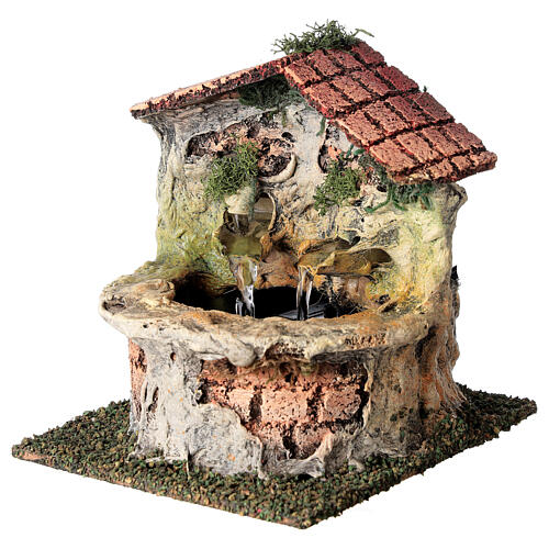 Working fountain with double dispenser for Nativity scene 10-12 cm 15x10x15 cm 2