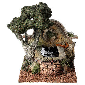 Working fountain and tree for Nativity Scene 8-10 cm 15x10x20 cm s1