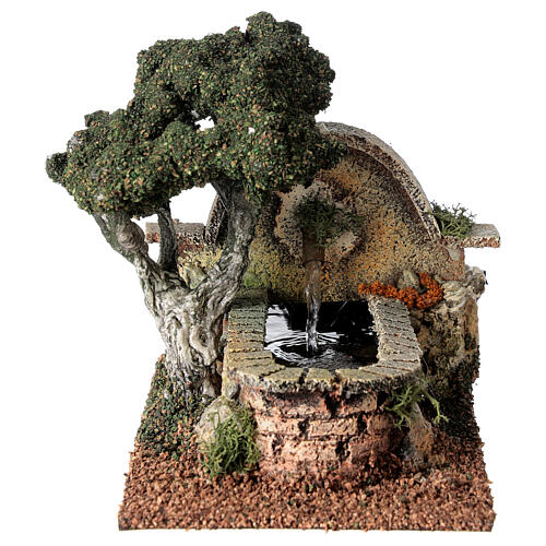 Working fountain and tree for Nativity Scene 8-10 cm 15x10x20 cm 1