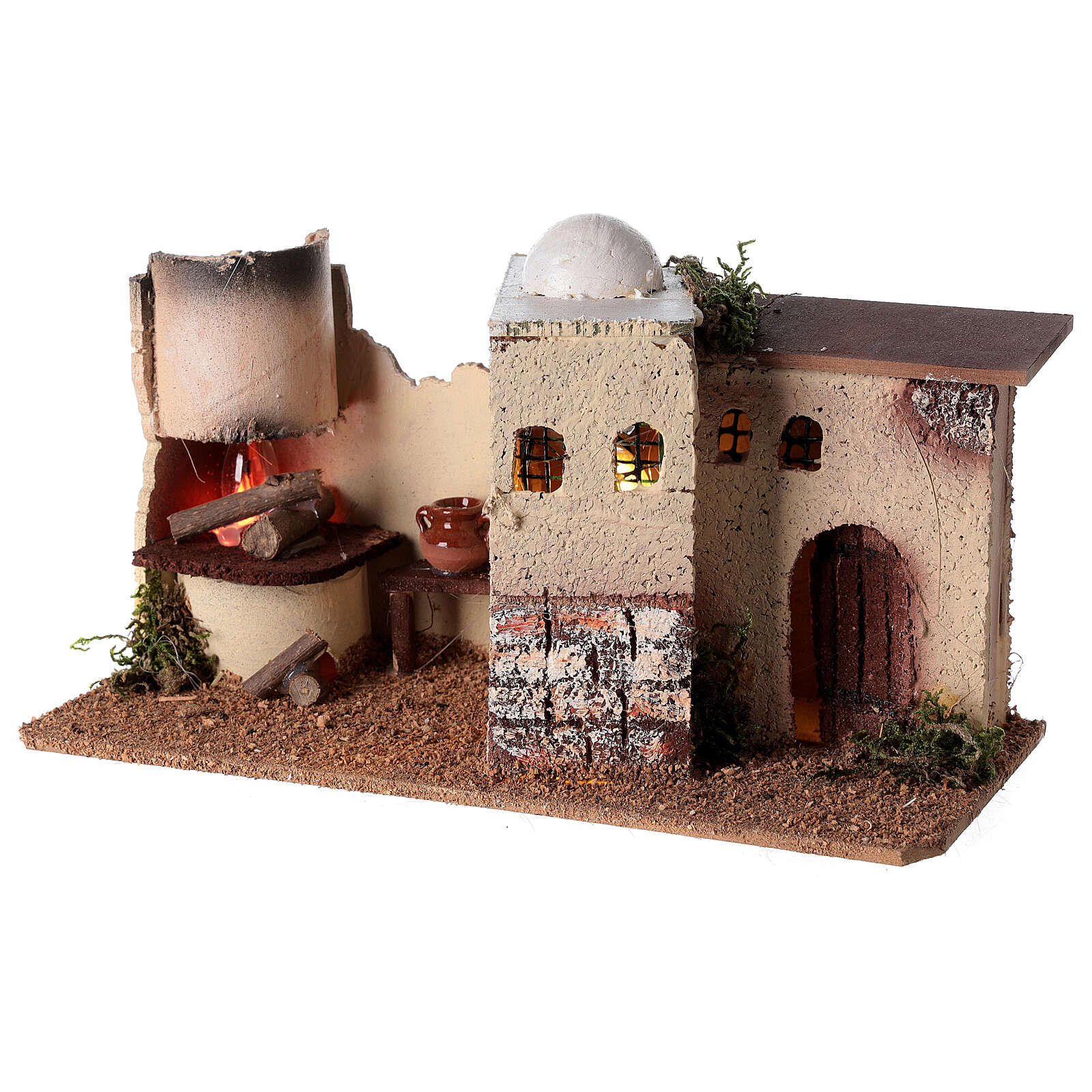 Nativity scene house with lighting and flickering fire 15x35x16 for Nativity scene 8-10 cm 4