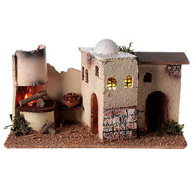 Nativity scene house with lighting and flickering fire 15x35x16 for Nativity scene 8-10 cm s1