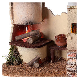 Nativity scene house with lighting and flickering fire 15x35x16 for Nativity scene 8-10 cm s2