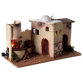 Nativity scene house with lighting and flickering fire 15x35x16 for Nativity scene 8-10 cm s4