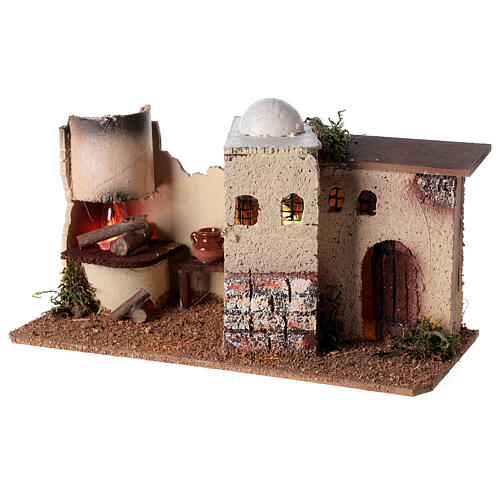 Nativity scene house with lighting and flickering fire 15x35x16 for Nativity scene 8-10 cm 3