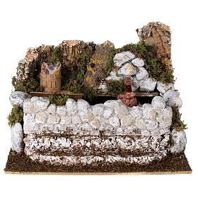 Washing fountain with jug 15x25x20 cm Nativity scene 10-12 cm s1