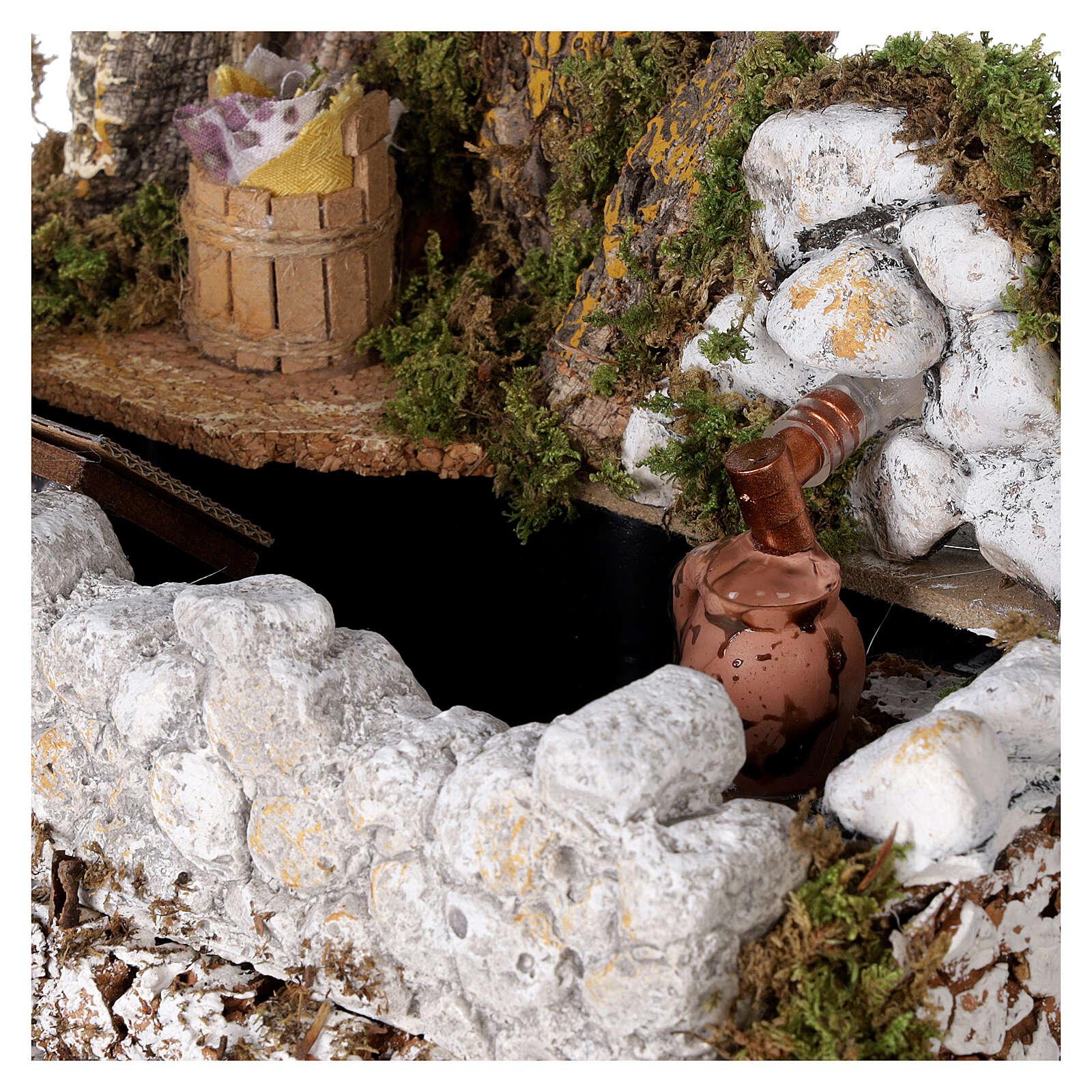 Fontana lavatoio con brocca 15x25x20 cm presepe 10-12 cm 4