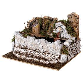 Fontana lavatoio con brocca 15x25x20 cm presepe 10-12 cm s3