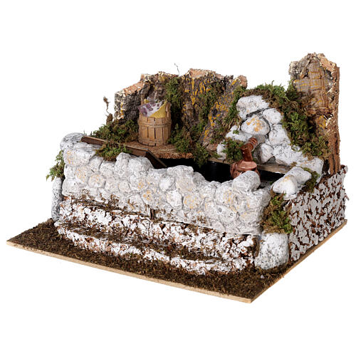 Fontana lavatoio con brocca 15x25x20 cm presepe 10-12 cm 3