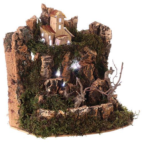 Paesaggio presepe con luci 25x20x25 per statue 10-12 cm 3