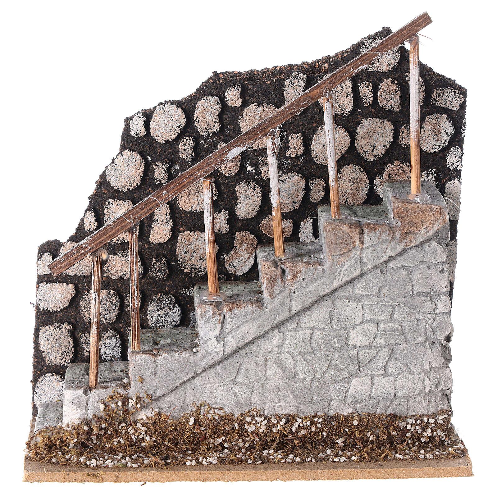Scala con ringhiera e muretto 10x15x15 per statue 12 cm 4