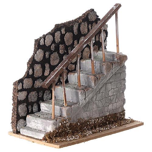 Scala con ringhiera e muretto 10x15x15 per statue 12 cm 2