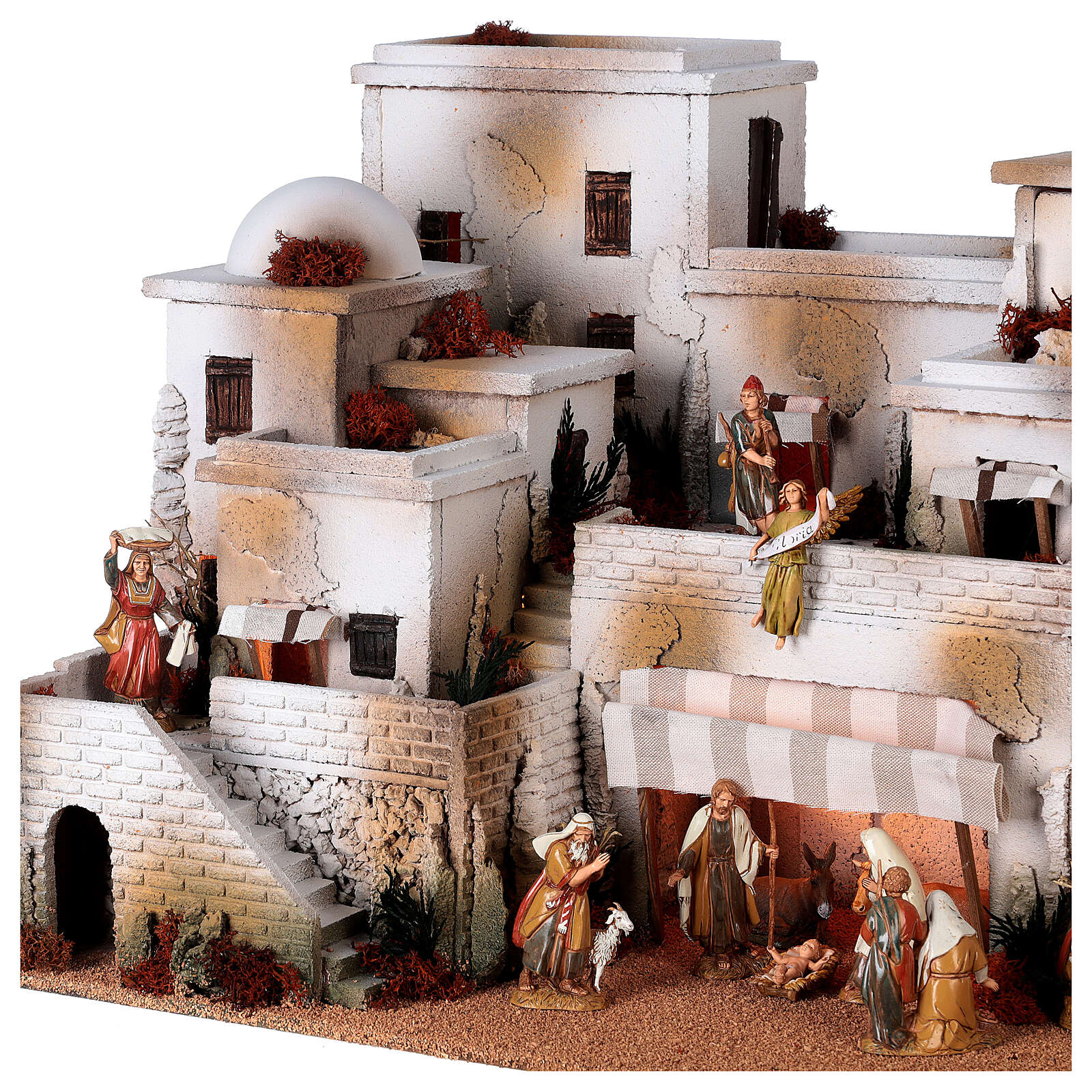 Pueblo belén árabe completo estatuas Moranduzzo 10 cm fuente 40x70x50 cm 4