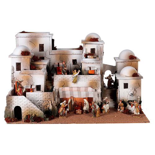 Pueblo belén árabe completo estatuas Moranduzzo 10 cm fuente 40x70x50 cm 1