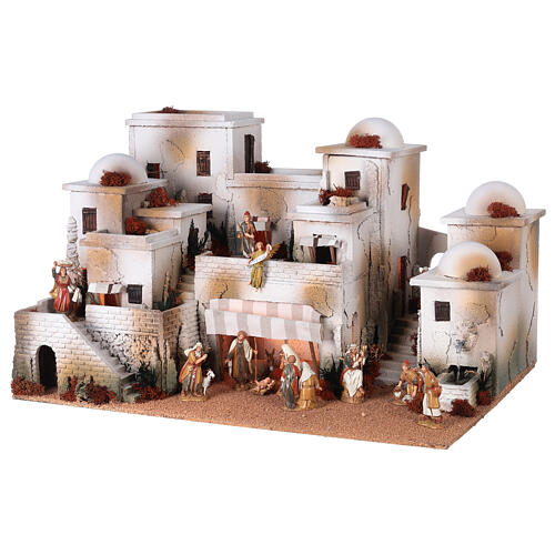 Pueblo belén árabe completo estatuas Moranduzzo 10 cm fuente 40x70x50 cm 3