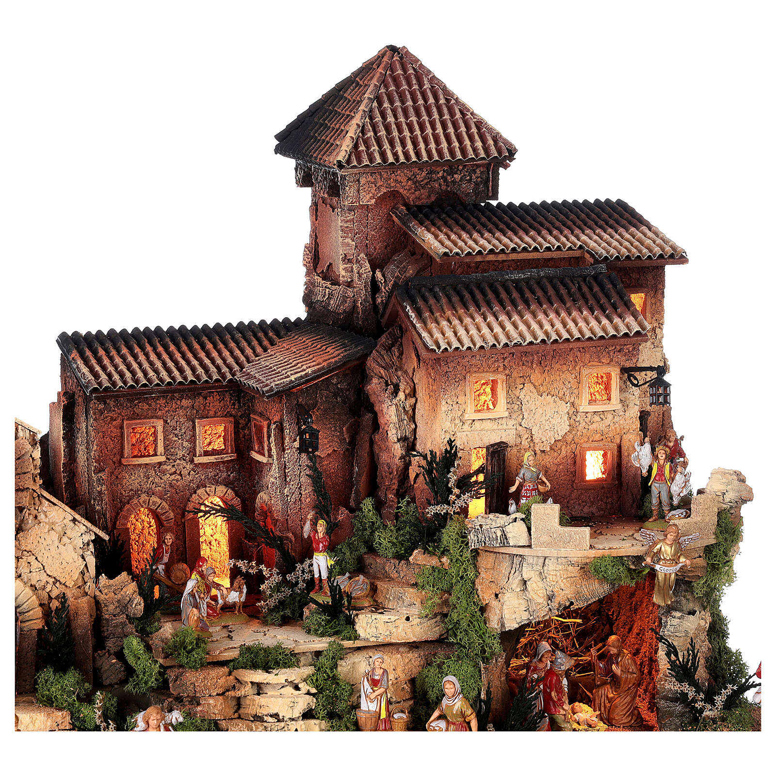 Dorfkrippe vollständig mit Kirche Moranduzzo, 50x70x45 cm 4