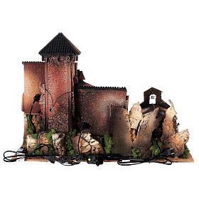 Dorfkrippe vollständig mit Kirche Moranduzzo, 50x70x45 cm s18