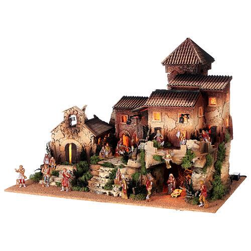 Dorfkrippe vollständig mit Kirche Moranduzzo, 50x70x45 cm 3