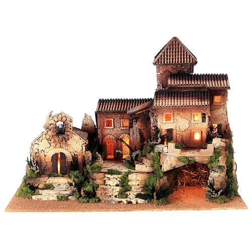 Dorfkrippe vollständig mit Kirche Moranduzzo, 50x70x45 cm 8