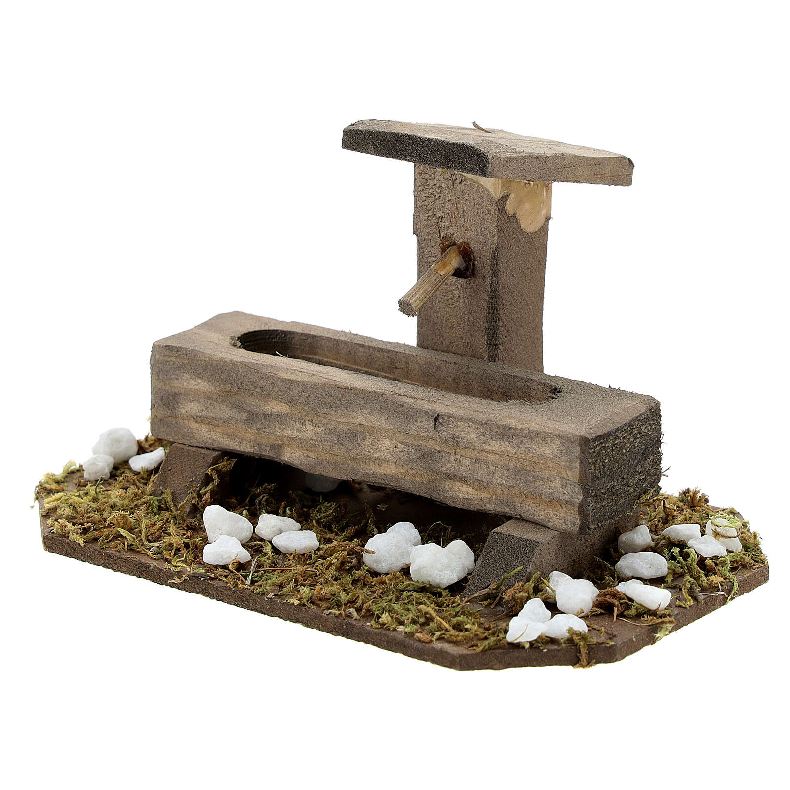 Fontana finta presepe 14-16 cm legno 10x10x5 cm 4
