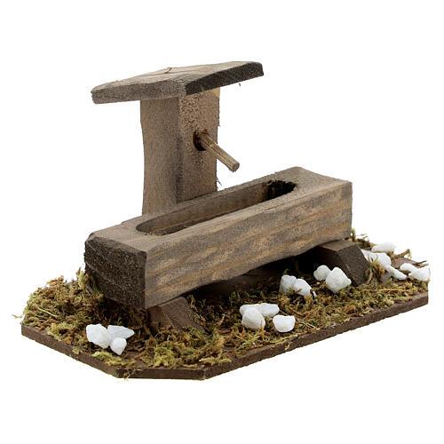 Fontana finta presepe 14-16 cm legno 10x10x5 cm 3