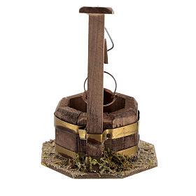 Pozzo legno scuro secchio carrucola 10x5x5 presepe 10 cm s4