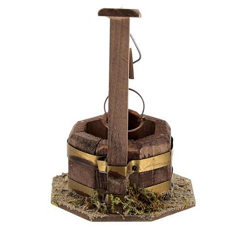 Pozzo legno scuro secchio carrucola 10x5x5 presepe 10 cm 4