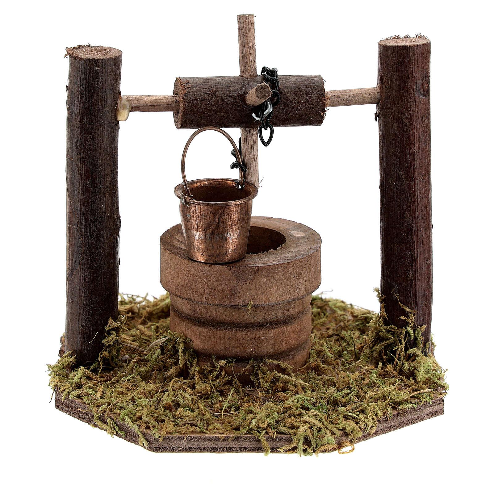 Pozzo carrucola secchio movibile legno scuro presepi 10 cm 4