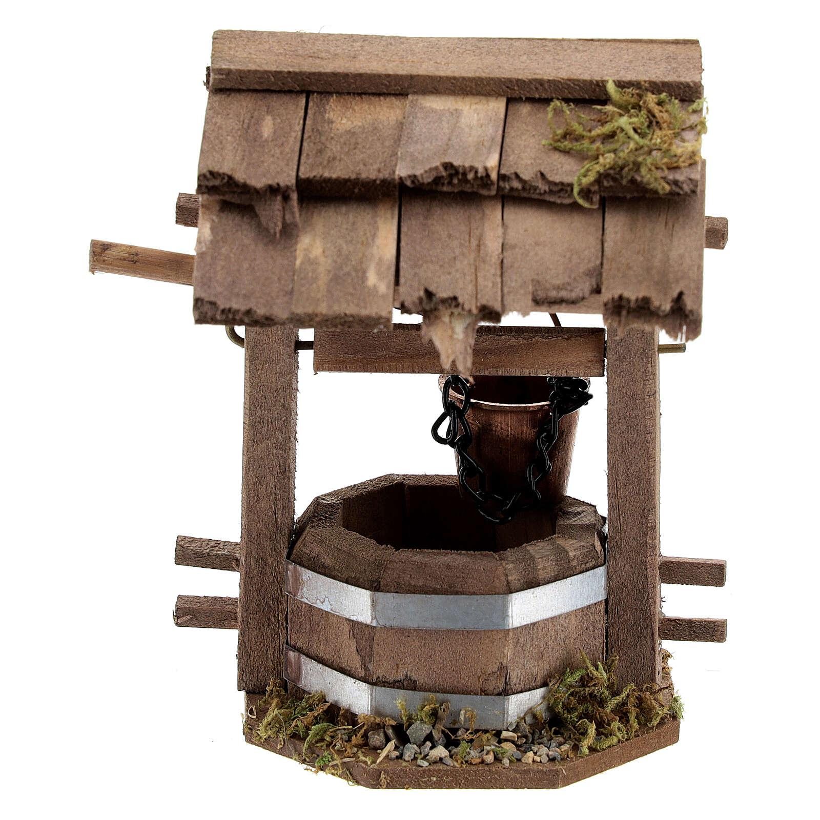 Pozzo presepe 10 cm tettoia legno scuro 10x10x5 cm 4
