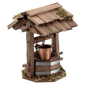 Pozzo presepe 10 cm tettoia legno scuro 10x10x5 cm s3