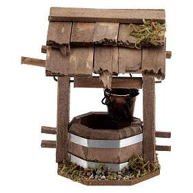 Pozzo presepe 10 cm tettoia legno scuro 10x10x5 cm s4