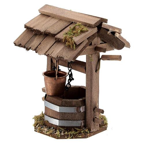 Pozzo presepe 10 cm tettoia legno scuro 10x10x5 cm 2